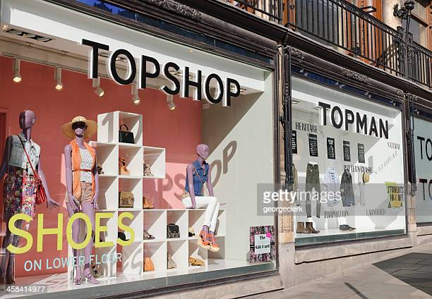 topshop and topman window displays - topshop retailer stock pictures, royalty-free photos & images