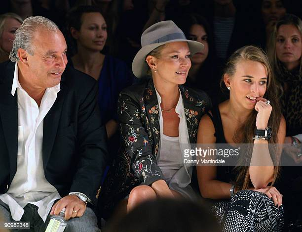 Topshop owner Philip Green, model Kate Moss and Chloe Green attend the Topshop Unique show at London Fashion Week Spring/Summer 2010 - Runway on...