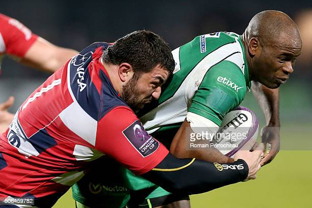 Topsy Ojo for London Irish is tackled by Giorgi Tetrashvili during the European Rugby Challenge Cup match between Agen and London rish at stade...
