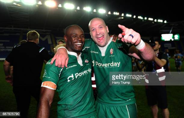 Topsy Ojo of London Irish celebrates with George Robson of London Irish during the Greene King IPA Championship Final Second Leg match between London...