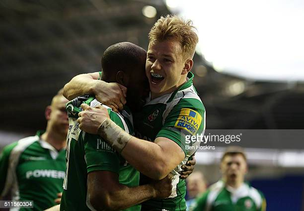 Topsy Ojo of London Irish celebrates with team mate Scott Steele after scoring his team's second try of the game during the Aviva Premiership match...
