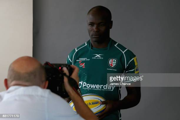 Topsy Ojo of London Irish has his photograph taken during the London Irish Photocall on August 14 2017 in Sunbury England