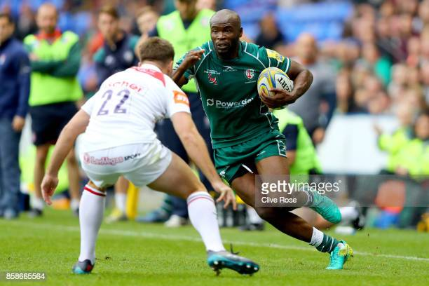 Topsy Ojo of London Irish in action during the Aviva Premiership match between London Irish and Leicester Tigers at Madejski Stadium on October 7...