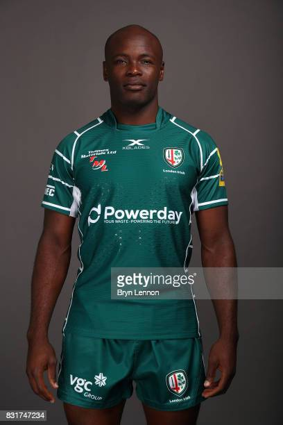 Topsy Ojo of London Irish poses for a portrait during the London Irish squad photo call for the 20172018 Aviva Premiership Rugby season on August 14...