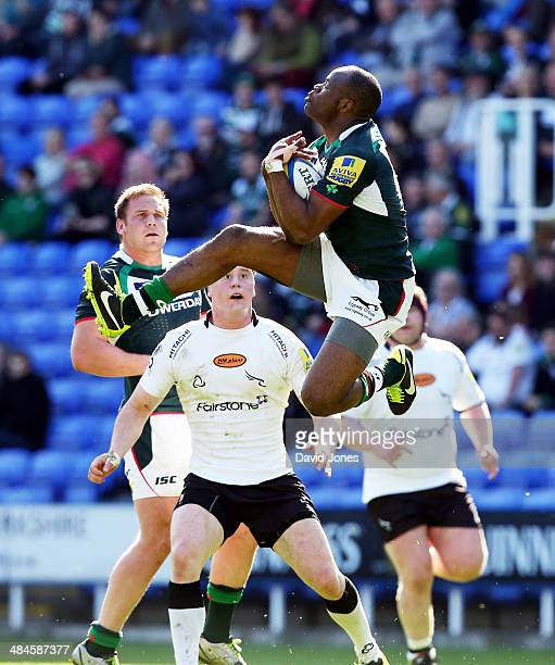 Topsy Ojo of London Irish secures a high ball against Newcastle Falcons during the Aviva Premiership match between London Irish and Newcastle Falcons...