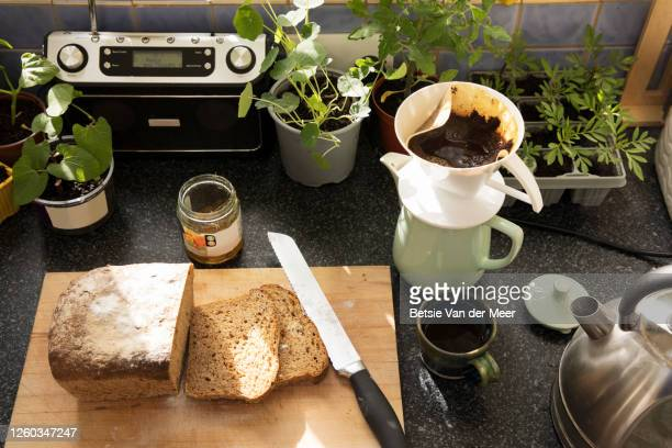topview of breakfast still life in kitchen. - radio stock pictures, royalty-free photos & images