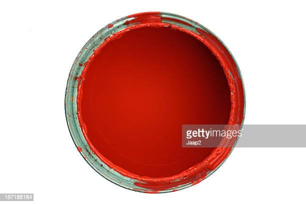 Topview of opened can with red paint, isolated on white