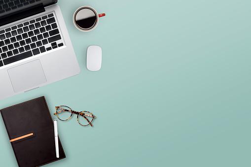Topview of working business desktop. 1058045964