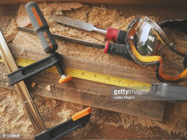 Topview photo of a carpenter's tools and materials