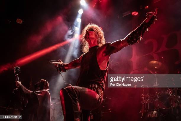 Tor Risdal Seidemann Stavenes and Olav Ravn Bergene from the band 1349 perform on stage during The Inferno Festival at Rockefeller Music Hall on...
