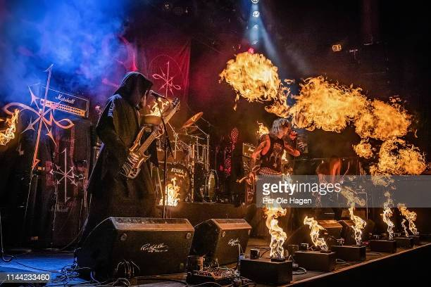 Tor Risdal Seidemann Stavenes Olav Ravn Bergene and Idar Archaon Burheim from the band 1349 perform on stage during The Inferno Festival at...