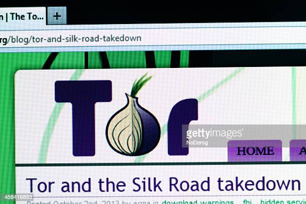 Tor website on computer monitor