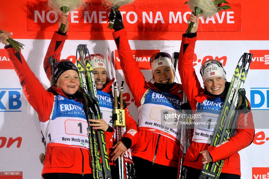 Tora Berger , Hilde Fenne , Ann Kristin Aafedt Flatland and Synnoeve Solemdal of Norway celebrate after taking 1st place during the IBU Biathlon World Championship Women's 4x6km Relay on February 15, 2013 in Nove Mesto, Czech Republic.