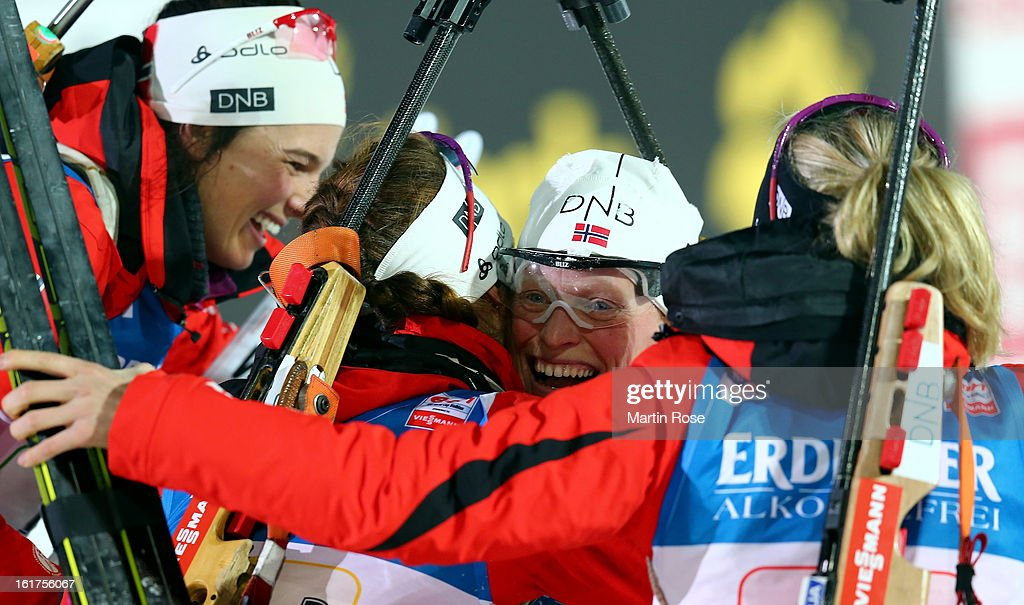 Tora Berger (C) of Norway celebrate with her team mates after winning the gold medal in the Women's 4 x 6km Relay in the IBU Biathlon World Championships at Vysocina Arena on February 15, 2013 in Nove Mesto na Morave, Czech Republic.