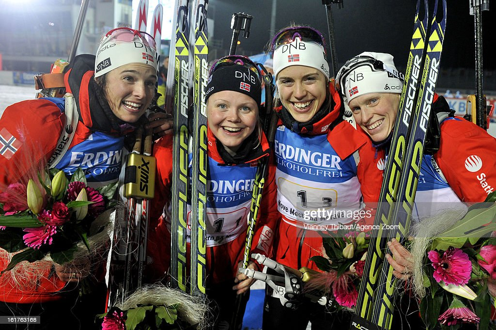 Tora Berger of Norway , Hilde Fenne of Norway , Ann Kristin Aafedt Flatland of Norway, Synnoeve Solemdal of Norway celebrate after taking 1st place during the IBU Biathlon World Championship Women's 4x6km Relay on February 15, 2013 in Nove Mesto, Czech Republic.
