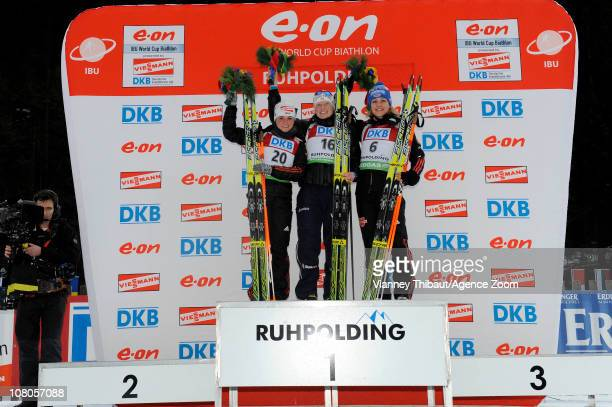 Tora Berger of Norway takes 1st place Andrea Henkel of Germany takes 2nd place Magdalena Neuner of Germany takes 3rd place during the IBU World Cup...