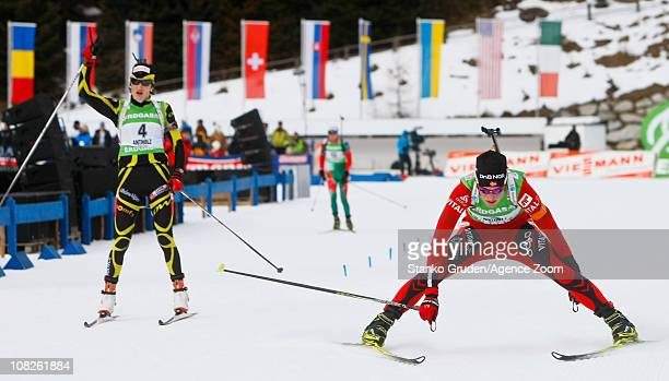 Tora Berger of Norway takes 1st place during the IBU World Cup Biathlon Women's 125 km Mass Start on January 23 2011 in AntholzAnterselva Italy