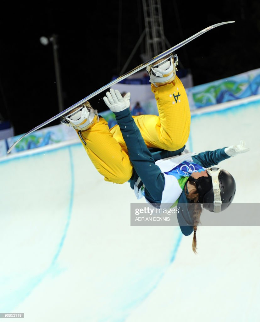 Torah Bright of Australia competes in the women's Snowboard Halfpipe final at Cypress Mountain, north of Vancouver on February 18, 2010 during the Vancouver Winter Olympics.
