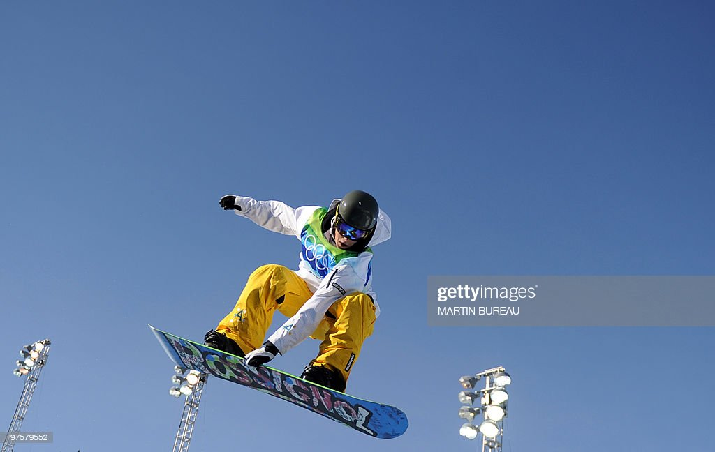 Torah Bright of Australia gets airborne during a training session of the women's Snowboard Halfpipe event at Cypress Mountain during the Vancouver Winter Olympics, north of Vancouver on February 18, 2010.