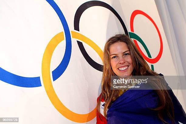 Torah Bright of Australia poses with the Australian flag after being named flag bearer for the opening ceremony of the Vancouver 2010 Winter Olympics...