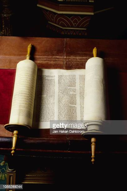 torah rolls in synagogue - torah stock pictures, royalty-free photos & images