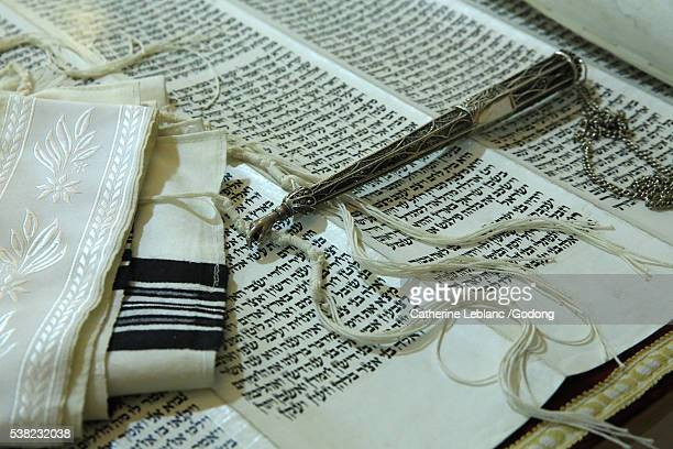 Torah scroll, Yad and Tallit.