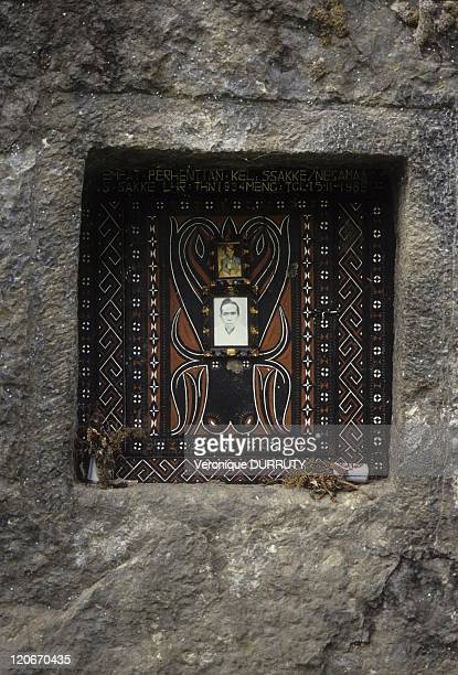 Toraja traditional grave in the cliffs near Rantepao in Sulawesi Indonesia In Toraja society the funeral ritual is the most elaborate and expensive...