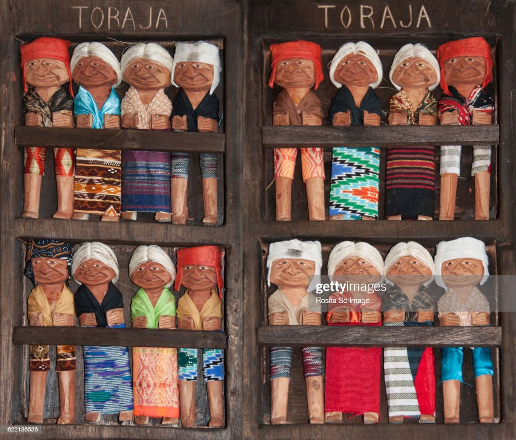 Torajan Traditional Wooden Dolls, South Sulawesi, Indonesia : Stock Photo