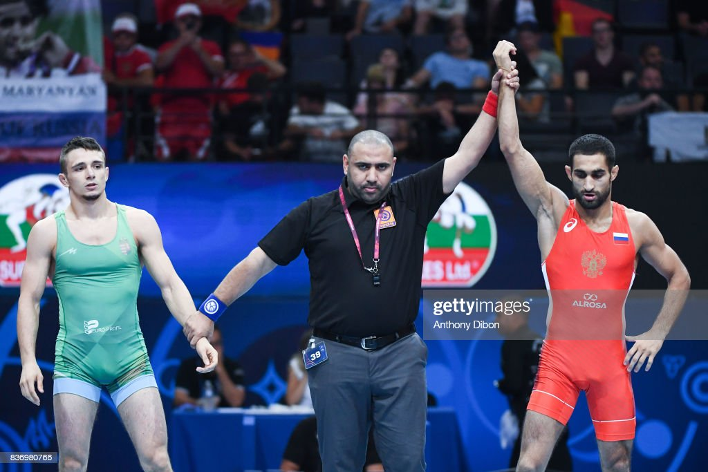 Torba E of Hungary and Maryanyan of Russia during the Men's 59 Kg Greco-Roman competition during the Paris 2017 World Championships at AccorHotels Arena on August 22, 2017 in Paris, France.