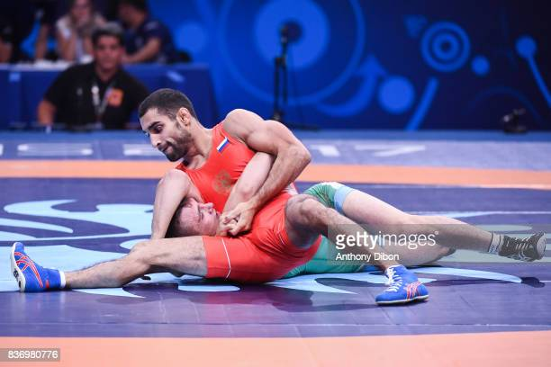 Torba E of Hungary and Maryanyan of Russia during the Men's 59 Kg GrecoRoman competition during the Paris 2017 World Championships at AccorHotels...