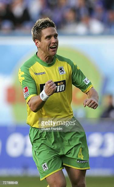 Torben Hoffmann of Munich celebrates scoring his goal during the Second Bundesliga match between Hansa Rostock and 1860 Munich at the Ostsee stadium...