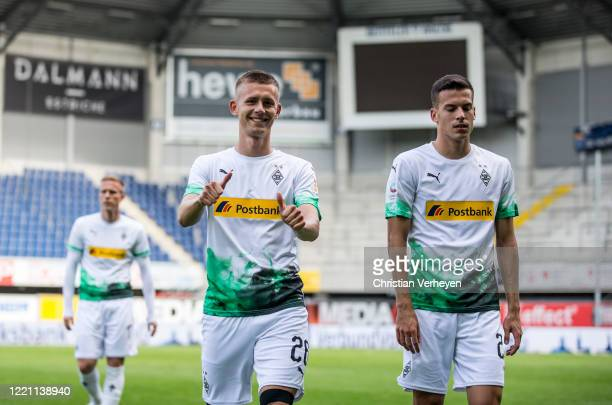 Torben Muesel of Borussia Monchengladbach is seen after he made his first Bundesliga match between SC Paderborn and Borussia Moenchengladbach at...