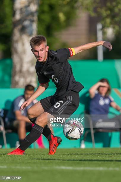 Torben Rhein of Germany controls the Ball during the international friendly match between Germany U19 and England U19 at Salinenstadion on September...