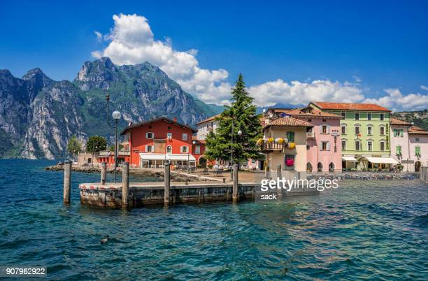 torbole at the nothern shore of the lake garda - lake garda stock pictures, royalty-free photos & images