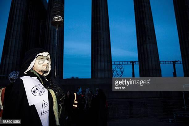 torch bearers at the beltane fire festival, edinburgh - theasis bildbanksfoton och bilder