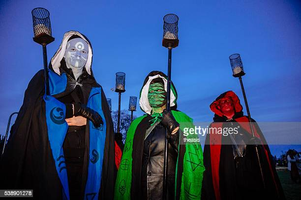 torch bearers at the beltane fire festival, edinburgh - theasis stock pictures, royalty-free photos & images