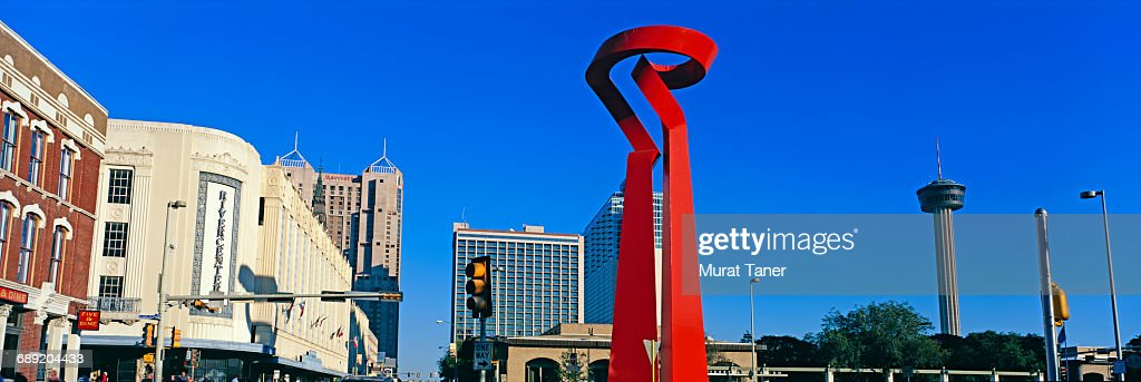 Torch of Friendship and Rivercenter Mall : Stock Photo