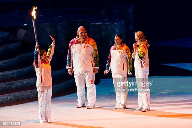 Torchbearers Elena Isinbaeva Maria Sharapova Alexander Karelin and Alina Kabaeva during the Opening Ceremony of the 2014 Sochi Olympic Winter Games...