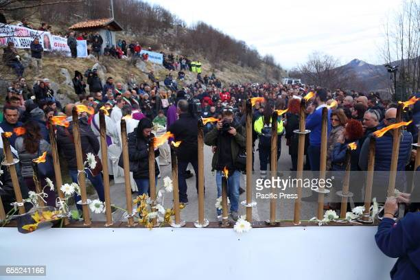 Torchlight in Rigopiano of Farindola to remember to two months after the tragedy the 29 victims of the avalanche that swept on the Jan 18 Rigopiano...