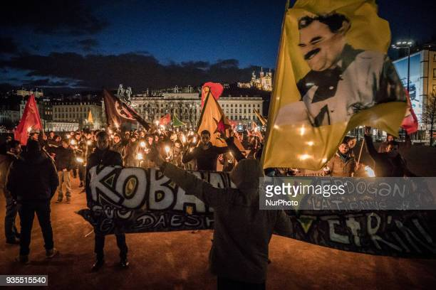 Torchlight march of the Kurdish community on the occasion of Newroz in the streets of Lyon France March 20 2018