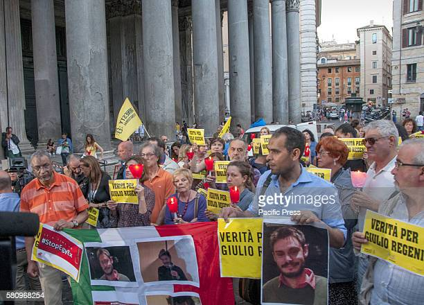 Torchlight procession at Pantheon in Rome to continue to seek truth and justice for Giulio Regeni six months after the tragic death of a young...