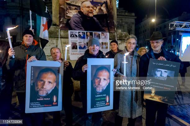 Torchlight procession for Father Paolo Dall'Oglio, the Jesuit monk kidnapped in Raqqa, Syria in July 29 is held on February 13, 2019 in Rome, Italy....