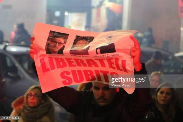 A torchlight procession to demand the release of Raffaele Russo his son Antonio 25 years old and his nephew Vincenzo Cimmino all Neapolitan and...