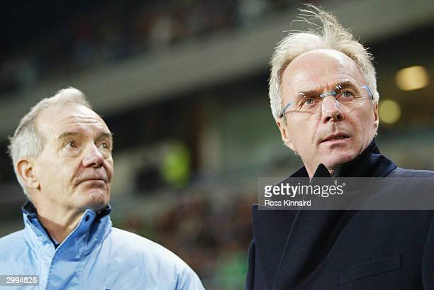 Tord Grip and Sven Goran Eriksson of England talk during the International Friendly match between Portugal and England at the Faro-Loule Stadium on...