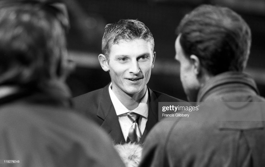 Tore Andre Flo speaks during a post-match media interview after the League Cup match against Southampton on November 19,1997 at Stamford Bridge in London,England.