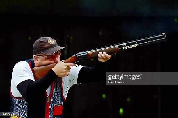 Tore Brovold of Norway competes during the Men's Skeet Shooting qualification round on Day 4 of the London 2012 Olympic Games at The Royal Artillery...