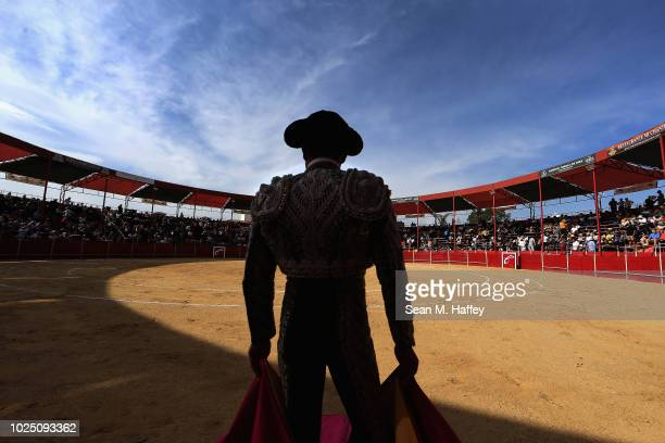 Torero Arturo Macias of Mexico waits for a bull to enter the bullring at Caliente Plaza de Toros on July 8 2018 in Tijuana Mexico Traditional Spanish...