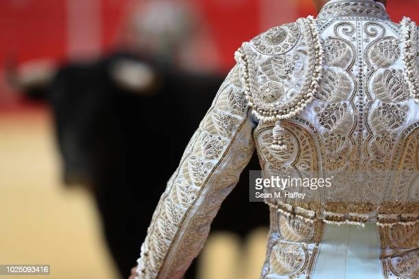 Torero Fermin Espinoza of Mexico addresses a bull during the second stage of a bullfight at Caliente Plaza de Toros on July 8 2018 in Tijuana Mexico...