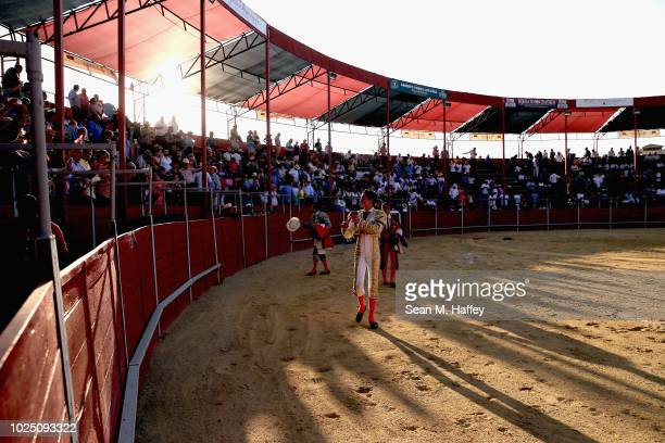 Torero Fermin Espinoza of Mexico revels in the fans applause at the conclusion of the day's bullfights at Caliente Plaza de Toros on July 8 2018 in...