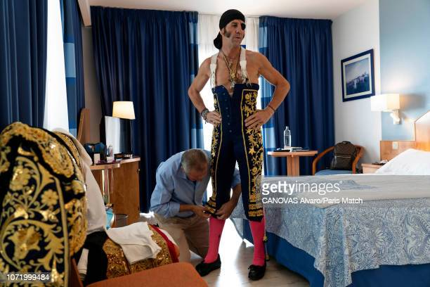 Torero Juan Jose Padilla and sword valet Juan Munoz in preparation for the bullfight are photographed for Paris Match on October 6 2018 in Fuengirola...
